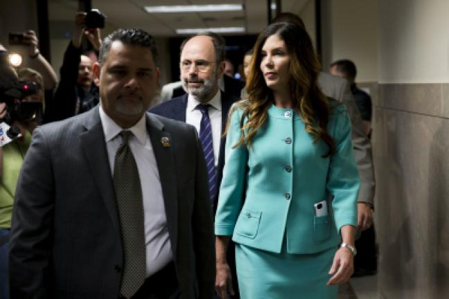 Pennsylvania Attorney General Kathleen Kane, right, accompanied by her attorney Gerald Shargel, center, departs after a pretrial hearing in her grand jury leak case Wednesday at the Montgomery County courthouse in Norristown. Kane is accused of…