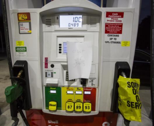 Gas pumps are empty at a Shell gas station after customers filled