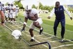 Penn State running back Saquon Barkley runs a drill during practice on Saturday. Barkley could be one of the best players in college football this season. AP PHOTO Copyright - THE PATRIOT-NEWS