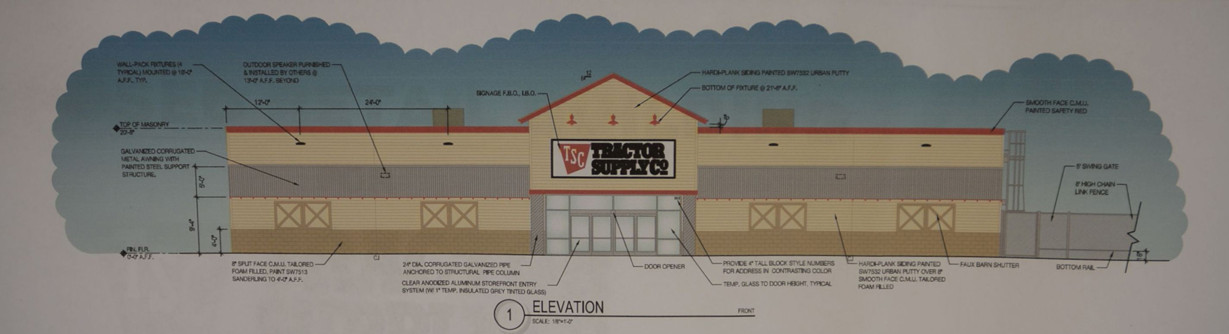 planning & zoning commission member jim swift urged that aesthetic changes  be made to the proposed tractor supply company building to have it satisfy  the