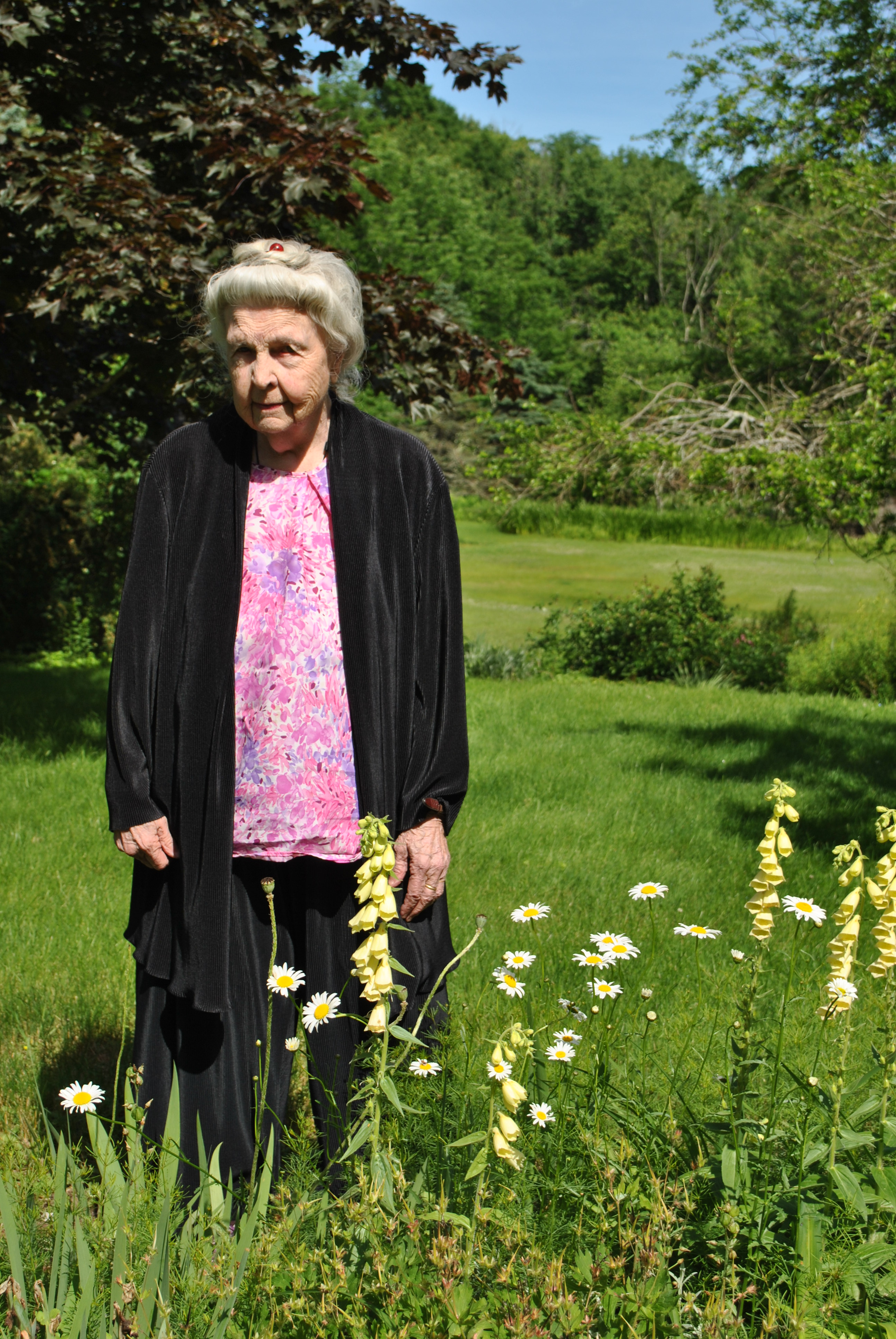 Liljan Minck Stands Surrounded By Yellow Fox Glove And Daisies, At The Edge  Of One Of The Gardens She Has Tended For Over Half A Century.
