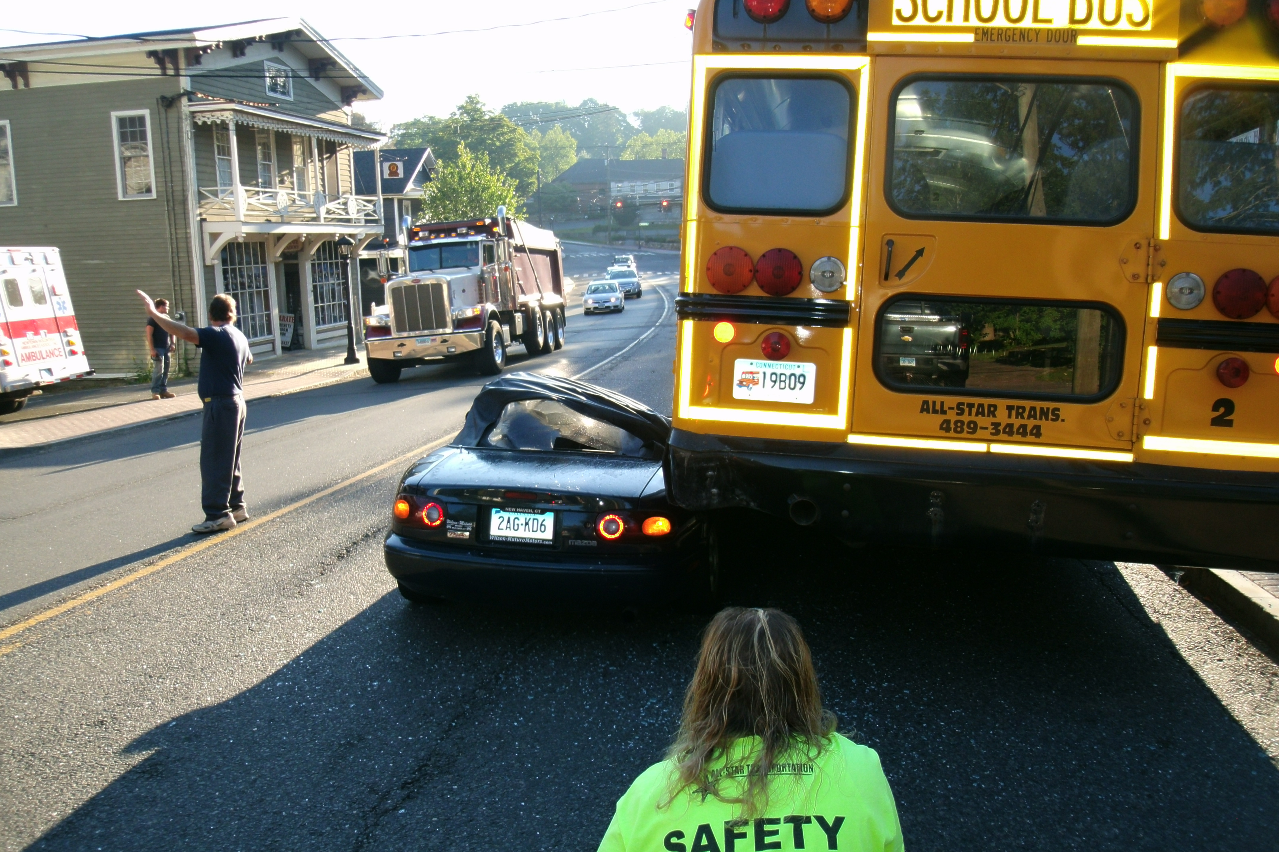 Sports Car Hits Parked School Bus In Sandy Hook Center | The Newtown Bee