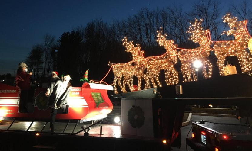 Santa's Sleigh - pulled by a decommissioned fire truck covered with holiday lights and a radio that only plays Christmas songs - will return to Sandy Hook Volunteer Fire & Rescue's main station for nine hours on Sunday, December 3.  (Pete Barresi photo)