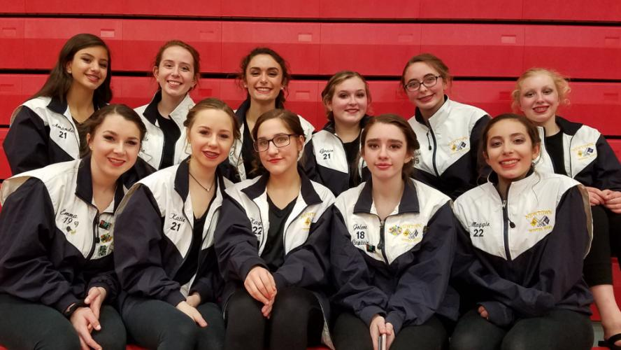 Winter Guard Varsity Team members pose for a recent photo. The team kicked off its season with a competition on February 3. (Kelly Hochstetler photo)
