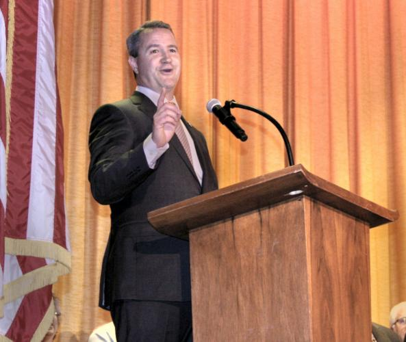 First Selectman-elect Daniel Rosenthal makes a point while giving a talk following his inauguration at Edmond Town Hall Theatre on November 19.  (Bee Photo, Gorosko)