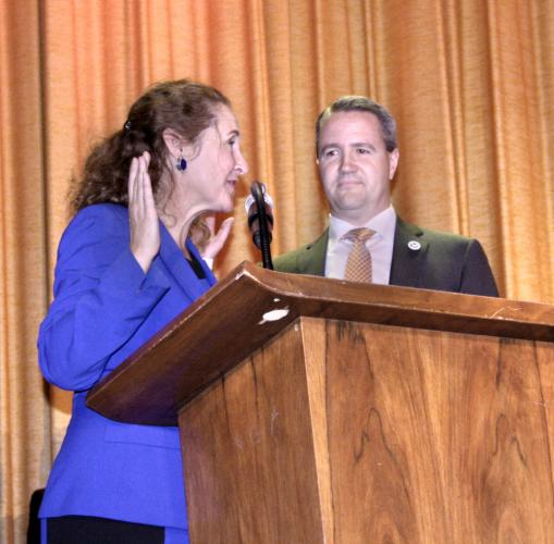 US Representative Elizabeth Esty officiated on November 19, swearing into office First Selectman-elect Daniel Rosenthal.   (Bee Photo, Gorosko)