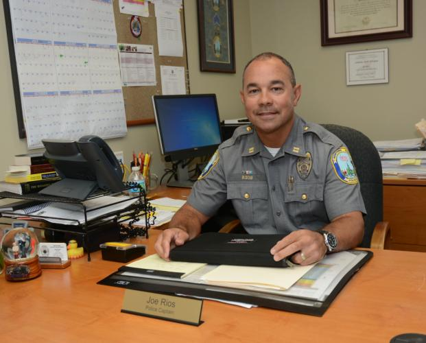 Police Captain Joe Rios, who is retiring after 26 years at the Newtown police department, is leaving to take a post overseeing safety/preparedness the Norwalk public schools. 	 (Bee Photo, Gorosko)