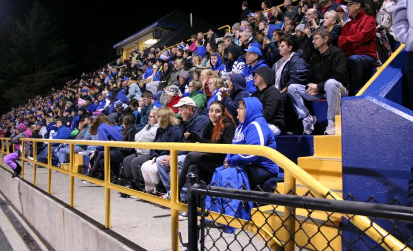 Spectators filled the grandstand at Blue & Gold Stadium at Newtown High School on September 30 for a good view of the festival.    (Bee Photo, Gorosko)