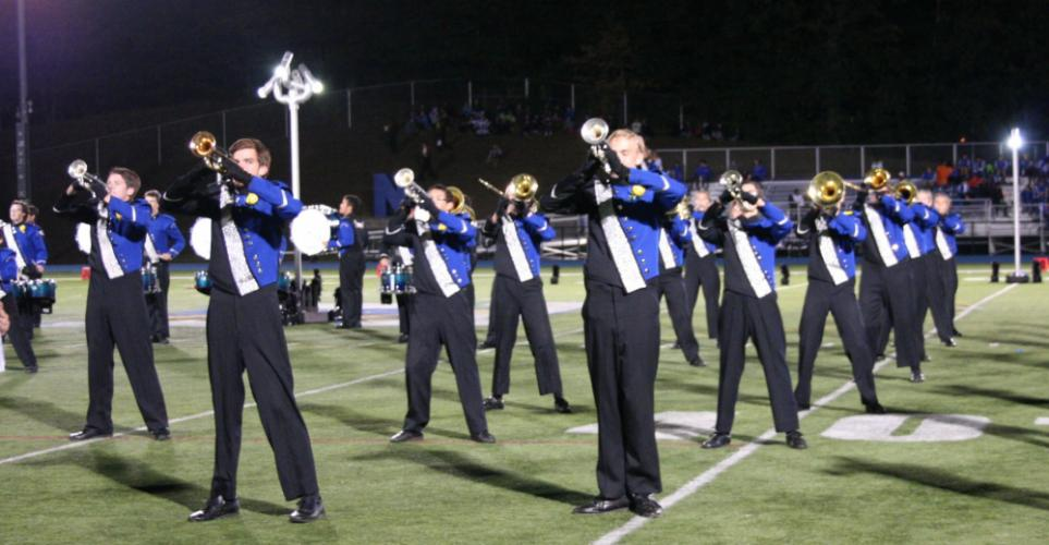 Members of the Newtown Nighthawks Marching Band & Guard performed a spirited routine as they hosted the 21st Annual Joseph P. Grasso Marching Band Festival on September 30.   (Bee Photo, Gorosko)