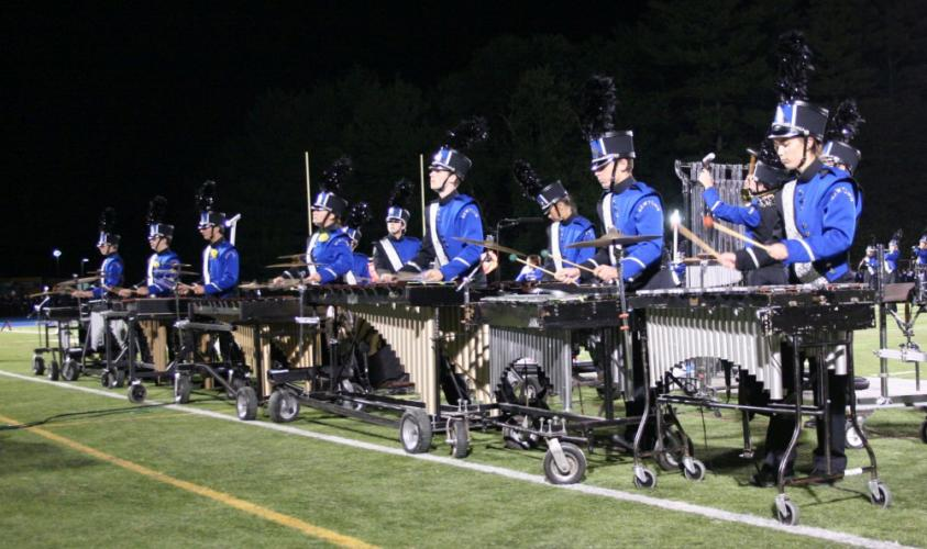 The Newtown Nighthawks Marching Band & Guard includes vibraphonists whose percussion adds musical warmth to the group's routines.   (Bee Photo, Gorosko)