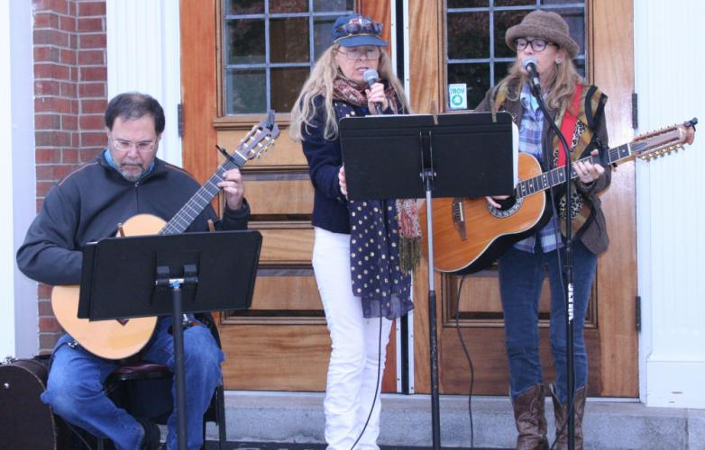 A trio comprised of Trish Keil, Andy LaFraniere, and Helen Mayszka provided music at the event.	(Bee Photo, Gorosko)