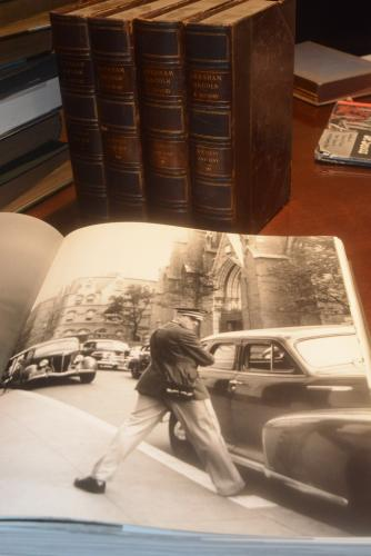 In the foreground is an open page from Richard Avedon's  <i>An Autobiography</i>. In background is part of the ten-volume set <i>Abraham Lincoln: A History</i>.  (Bee Photo, Hutchison)