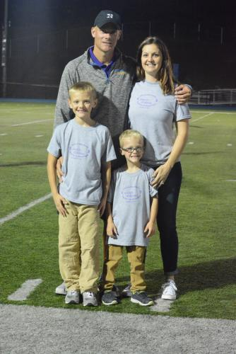 Marc and Kateri Kenney with children Jordan, left, and Ryan, at halftime of the October 14 Newtown High girls' soccer game. Mr Kenney coaches the soccer team, and the game served as a fundraiser for March of Dimes. Jordan and Ryan were both born…