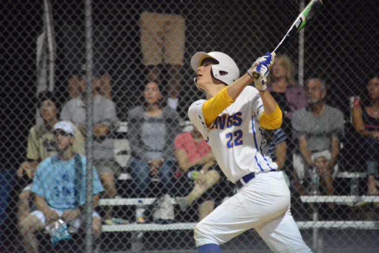 Jack Petersen follows through on his swing. (Bee Photo, Hutchison)