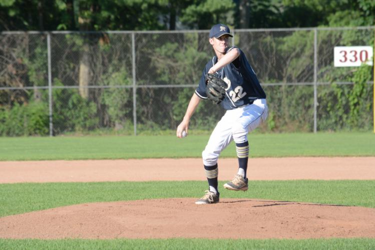 Bryan Vander Have delivers a pitch during summer action. (Bee Photo, Hutchison)