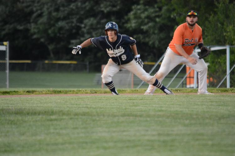 Rob Lombardo takes his lead off first base during American Legion action against Shelton. (Bee Photo, Hutchison)