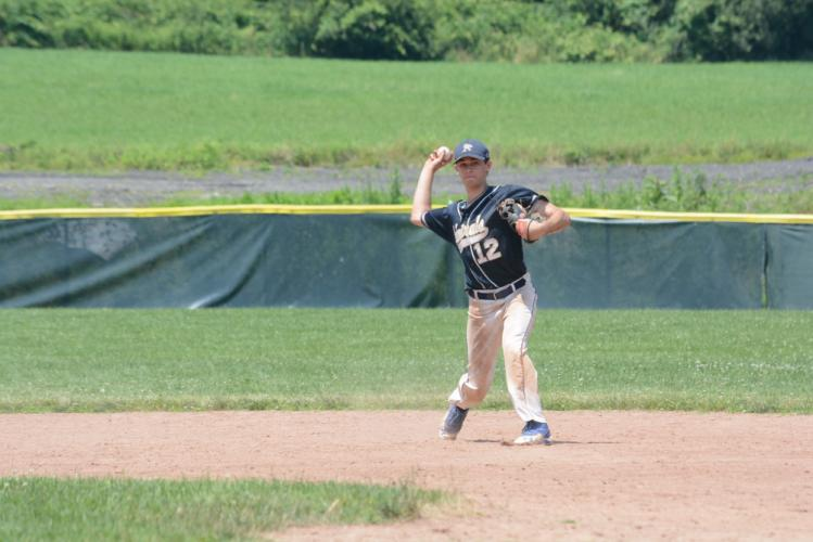Will Huegi throws to first for an out. (Bee Photo, Hutchison)
