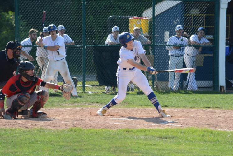 Josh Taylor swings the bat during state playoff action. (Bee Photo, Hutchison)