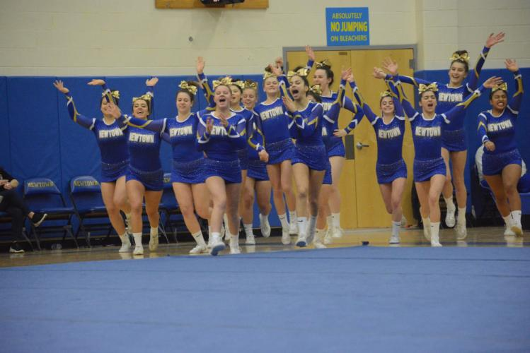 Newtown High's cheerleaders placed second in the SWC. (Bee Photo, Hutchison)