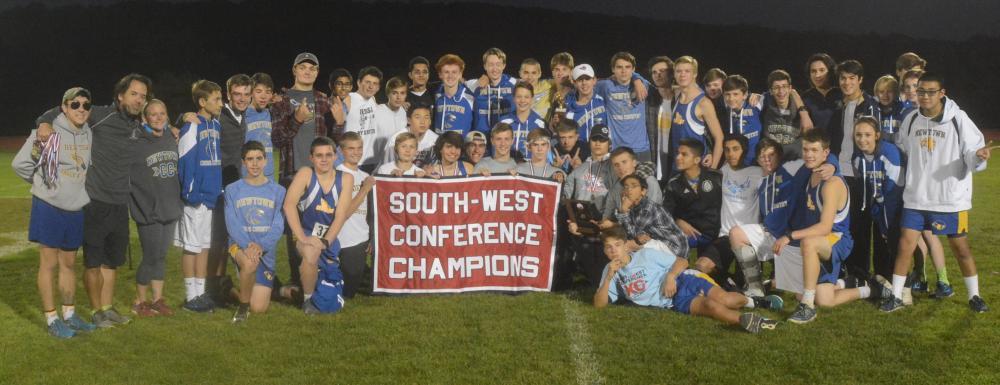 The Nighthawks celebrate winning the SWC championship. (Bee Photo, Hutchison)
