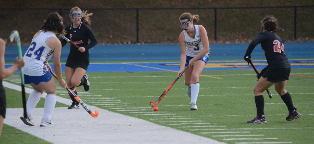 Ali Kelleher moves up the field with the ball on her stick. (Bee Photo, Hutchison)