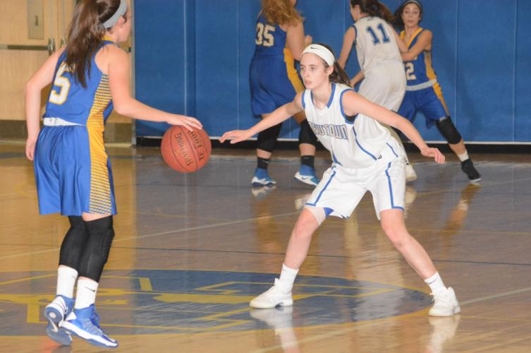 Rylee Mulligan defends during Newtown's win over Brookfield. (Bee Photo, Hutchison)