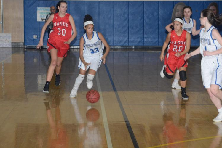 Amy Sapenter and the Nighthawks defeated Masuk 49-32 on February 2. (Bee Photo, Hutchison)