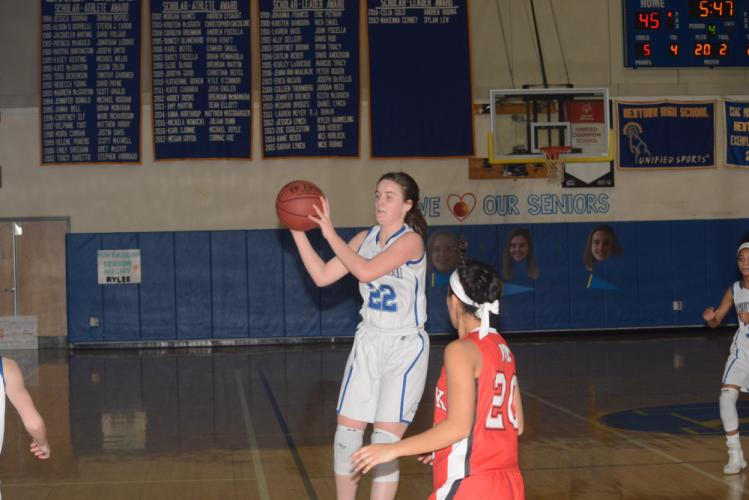 Kira Smith scored ten points and grabbed 12 rebounds against Masuk. (Bee Photo, Hutchison)