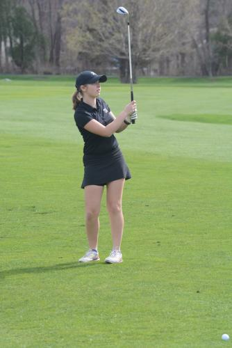 Sydney Marino watches her shot during a match at Rock Ridge. (Bee Photo, Hutchison)