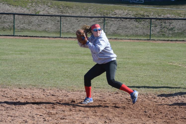 Angela Carriero gets ready to make a throw during practice. (Bee Photo, Hutchison)