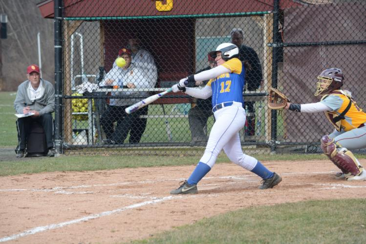 Katie Goyda smacked a single in her first varsity at bat. (Bee Photo, Hutchison)