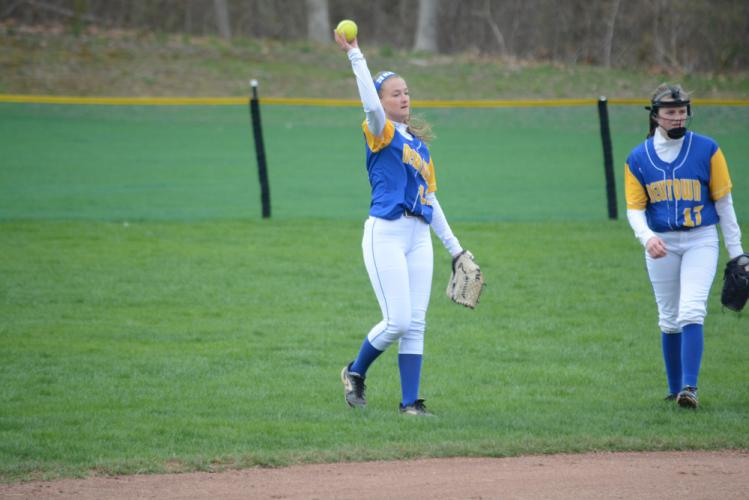 Outfielder Rachel O'Grady tosses the ball to the infield during a game this spring. (Bee Photo, Hutchison)