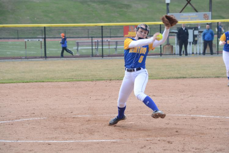 Sara Kennedy pitched and also hit a game-tying home run to force extra innings at St Joseph. (Bee Photo, Hutchison)