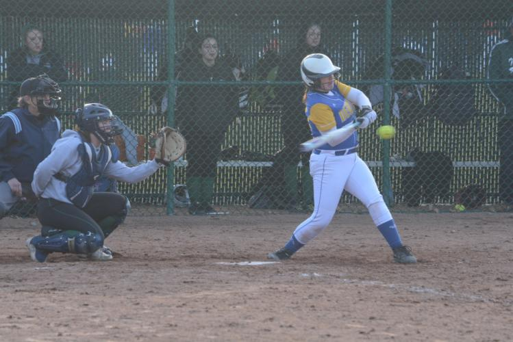 Shannon Cheh puts the bat on the ball. (Bee Photo, Hutchison)