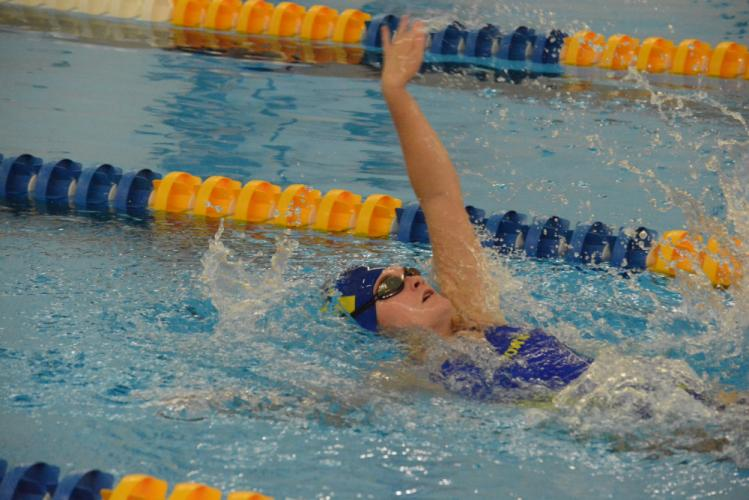 Emma Riebe competes during a meet this season. (Bee Photo, Hutchison)
