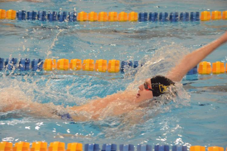 Peter Fagerholm competes during a meet this winter. Fagerholm and the Hawks defeated Brookfield for their sixth win. (Bee Photo, Hutchison)