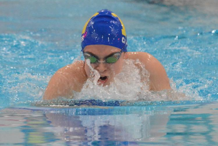 Maddie Carter competes in the 100 yard butterfly race. (Bee Photo, Hutchison)