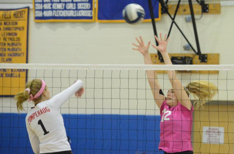 Erin Mitchell goes up for a block. (Bee Photo, Hutchison)
