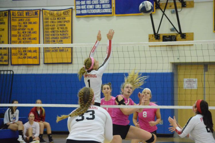 Erin Mitchell watches the ball go over the net as Kim Buttery and Jackie Moccio (No. 8) look on. (Bee Photo, Hutchison)
