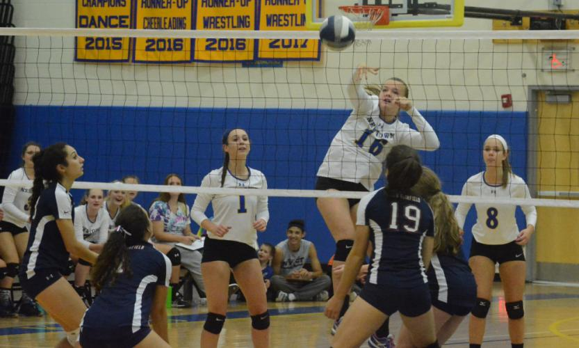 Genevieve Murray spikes the ball as Kim Buttery (No. 1) and Jackie Moccio (No. 8) look on. (Bee Photo, Hutchison)