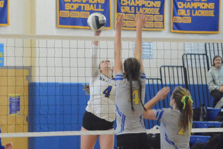 Zoe Beals hits the ball during the first round of the SWC tourney. Beals helped Newtown advance and win in the semifinal round. (Bee Photo, Hutchison)