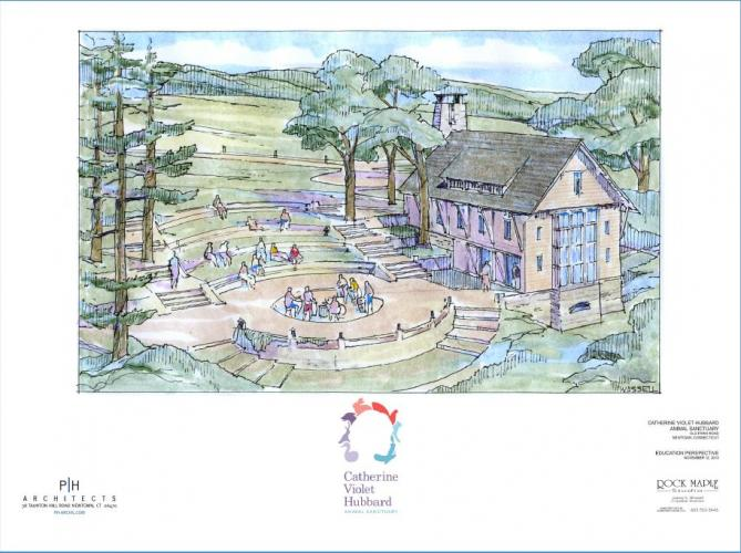 The Catherine Violet Hubbard Animal Sanctuary could house an education center and outdoor amphitheater, as pictured in this PH Architect drawing, where learning and community gathering could take place.