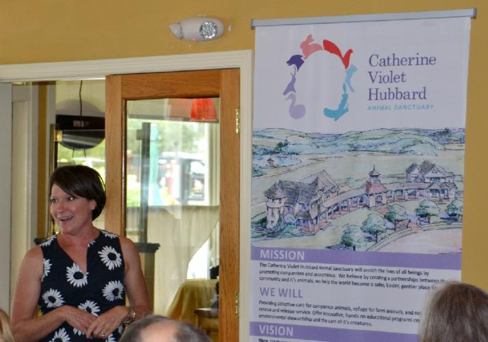 Pictured is Jenny Hubbard, president of the Catherine Violet Hubbard Foundation and mother of Catherine Hubbard, who died at Sandy Hook Elementary School on 12/14, speaking at the Newtown Board of Realtors luncheon at Sal e Pepe on June 7. (Bee…