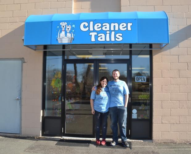 Cleaner Tails in Bethel is a Do-It-Yourself dog wash, full-service grooming, and pet supply store. Pictured are owners Tamara Cabrero and Stephen Kaponyas outside the store entrance on the lower level of 32 Stony Hill Road. (Bee Photo, Silber)