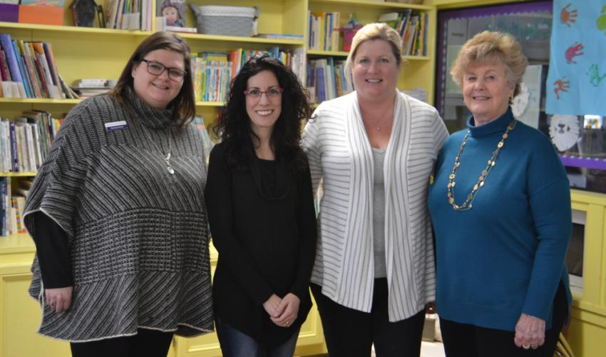 Pictured from left are members of the Children's Adventure Center Board, Karissa Peters, Carrie Battaglia, Jane Gadbut, and Joanne Albanesi, who attended the high tea event for former First Selectman Pat Llodra on February 1. (Bee Photo, Silber)