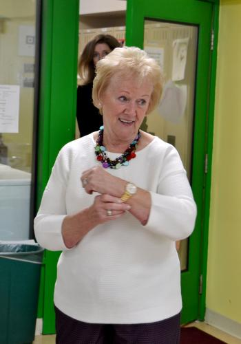 Former First Selectman Pat Llodra received a new watch from the Children's Adventure Center during the High Tea event they held for her on Thursday, February 1. (Bee Photo, Silber)