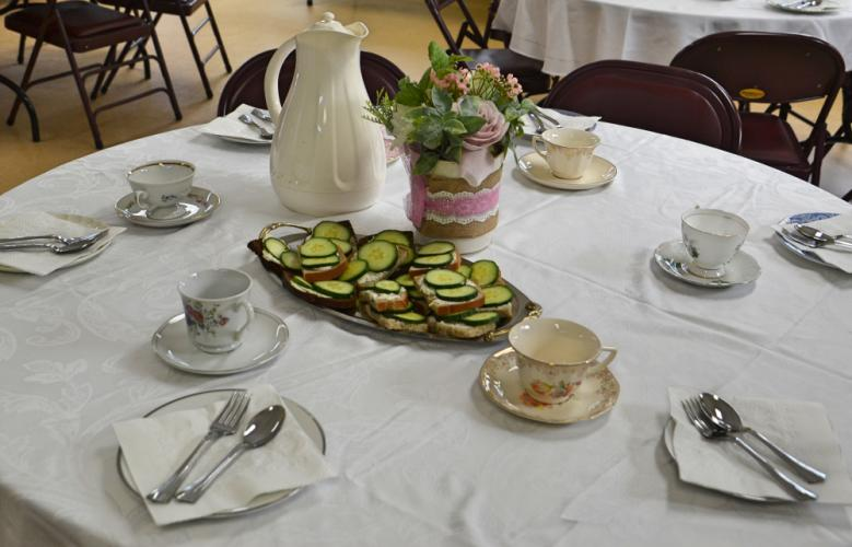 The back room of the Children's Adventure Center was transformed into an elegant tea room complete with tea cups and saucers, sandwiches, and flower arrangements thanks to CAC Director Anna Ruggiero. (Bee Photo, Silber)