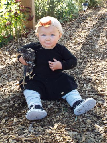 Charlotte Jean Kearns, who is nearly 11 months old, is the fifth generation in her family line to help out at Castle Hill Farm. She especially enjoys the farm's array of petting zoo animals, always willing to kindly hold the baby chickens. (Bee…