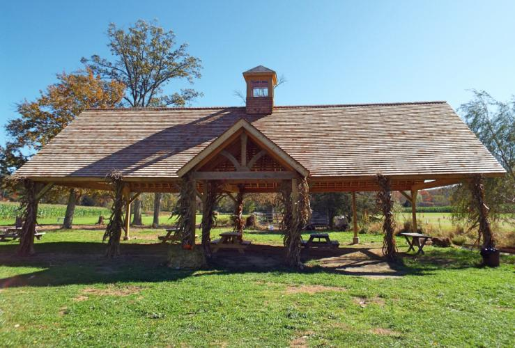 The new pavilion at Castle Hill Farm was just completed on September 16. Stephanie (Paproski) Kearns designed the structure and customized the entryway to include flooring from a chicken coop on the farm. (Bee Photo, Silber)