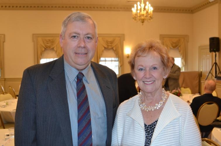 Former Selectman William Rodgers and former First Selectman Patricia Llodra were honored at a farewell ceremony sponsored by the Newtown Republican Town Committee at the Edmond Town Hall on February 4. (Bee Photo, Silber)